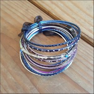 Jewelry - New Beautiful Purple Blue Boho Bangle Bracelet Set